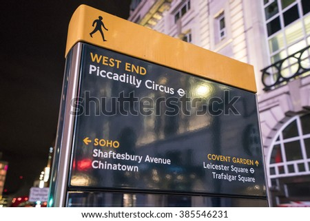 Piccadilly Circus sign LONDON, ENGLAND - FEBRUARY 22, 2016