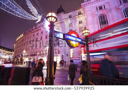 Piccadilly Circus Underground station in London - LONDON / ENGLAND - DECEMBER 10, 2016