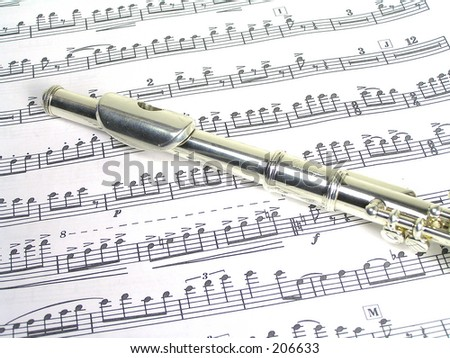 piccolo and music - stock photo