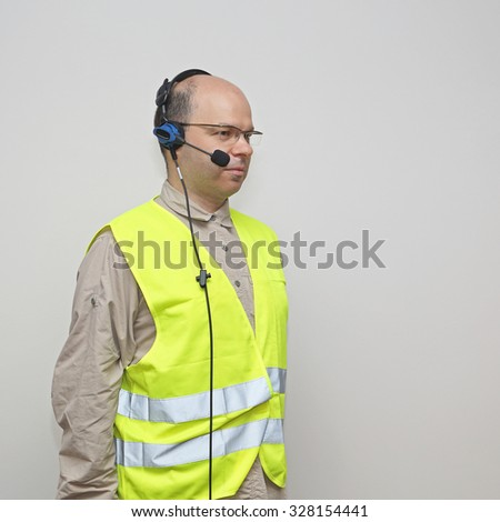 Pick by Voice Control Headset Bald Man