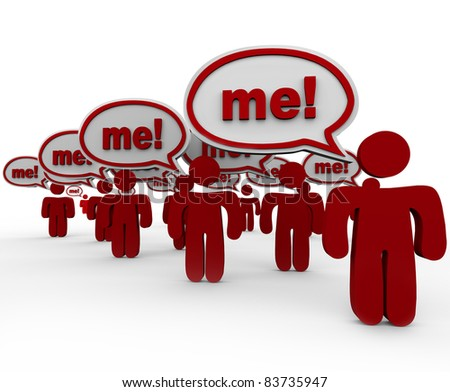 Pick or choose me, is the hope of many people standing together in the hope of getting your attention with speech bubbles and the word Me in each one - stock photo
