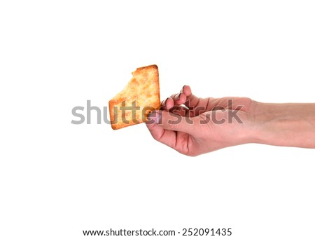 Pick up food with dirty hands, His hands are dirty with dirt lodged in the nails,(concept for pathogens/ bacteria under nails) (focus on dirty nail) - stock photo