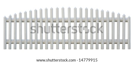 Picket fence isolated on white. Object is seamless. Outermost planks are identical, so you can replicate it left and right any times. - stock photo