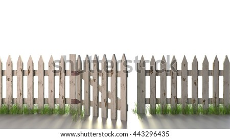 picket fence gate open. picket fence with open gate an old peeling white paint isolated on