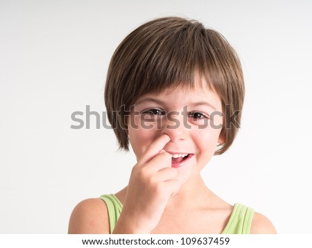 Picking nose fun... - stock photo