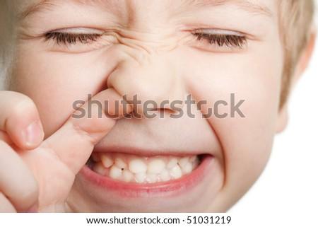 Picking nose fun looking eye cute human child face - stock photo