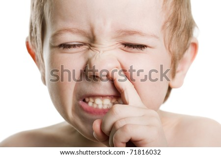 Picking nose fun looking eye cute human child face - stock photo