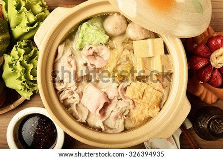 Pickled cabbage and meat hot pot    - stock photo