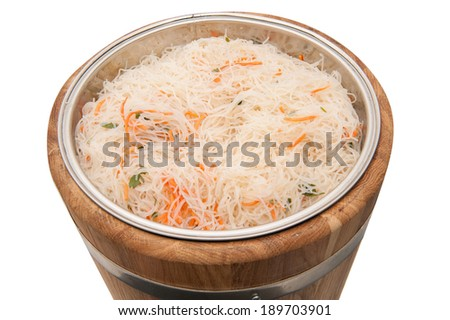 Pickled cabbage in a barrel - stock photo