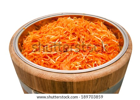 Pickled carrots in a barrel - stock photo