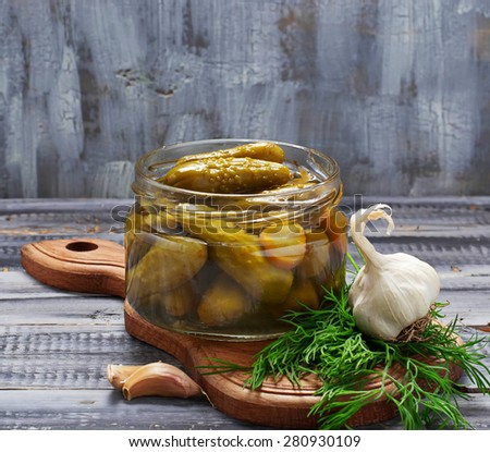 Pickled cucumbers, homemade preserved. Selective focus - stock photo