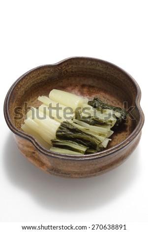 Pickled japanese vegetable, Pickled Shakusina  - stock photo