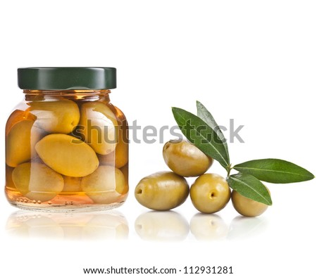 pickled olives and olive tree branch isolated on a white background - stock photo