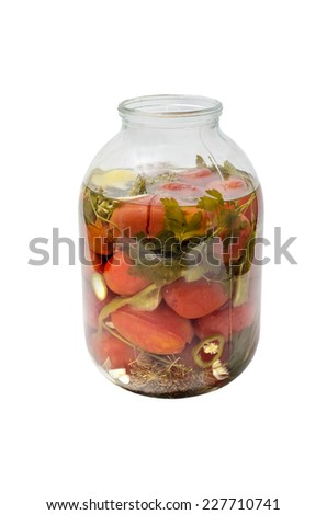 pickled tomatoes in jar