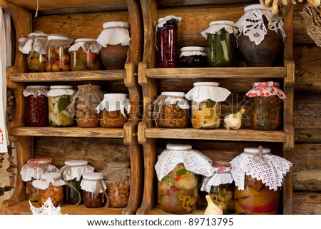 pickled vegetables and fruits - stock photo