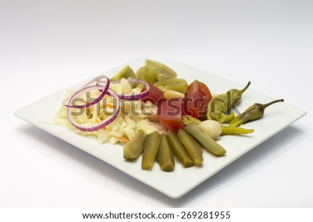 Pickled vegetables cucumbers, cabbage Ukrainian and Russian cold appetizer - stock photo