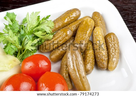 pickled vegetables of tomato, cucumber and cabbage