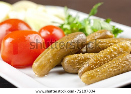 pickled vegetables of tomato, cucumber, cabbage - stock photo