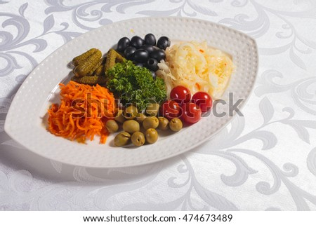 Pickled vegetables on the plate