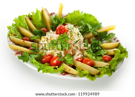 Pickled Vegetables Plate with Dill and Parsley