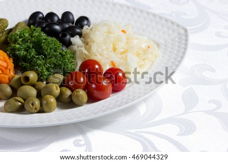 Pickled vegetables, snack on a plate