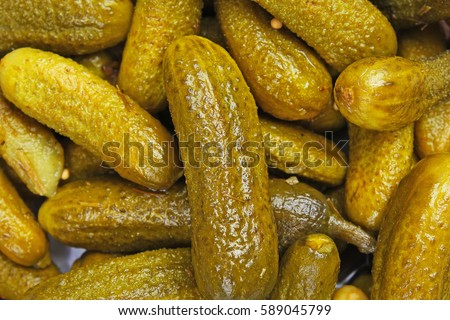Pickles as background. Green pickle texture pattern.  pickled cucumber,