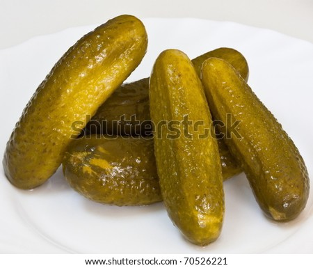 Pickles on a plate - stock photo