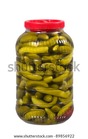 Pickles on a white background