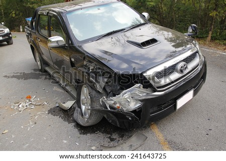 pickup accident on road,car accident in national park ,Thailand on 1 January 2015