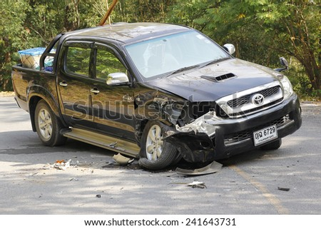 pickup accident on road,car accident in national park ,Thailand on 1 January 2015 - stock photo
