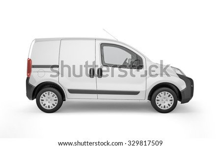 Pickup car on white background mock up. Easy ad some creative design or logo on this blank space. 3D Illustration - stock photo