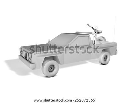 pickup truck armed with machine gun - stock photo