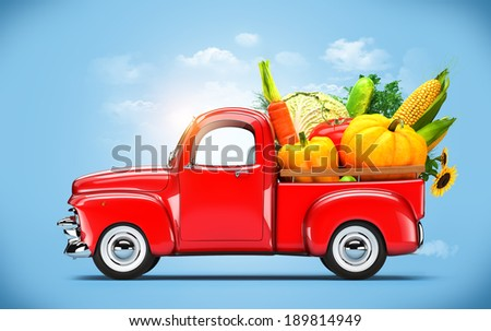 Pickup truck loaded by vegetables.  - stock photo
