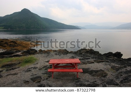 Picnic area on Bonne Bay in Norris Point, Newfoundland, Canada. - stock photo