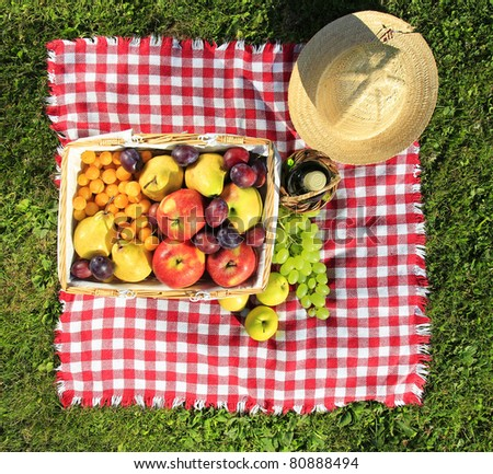 Picnic at meadow, top view - stock photo