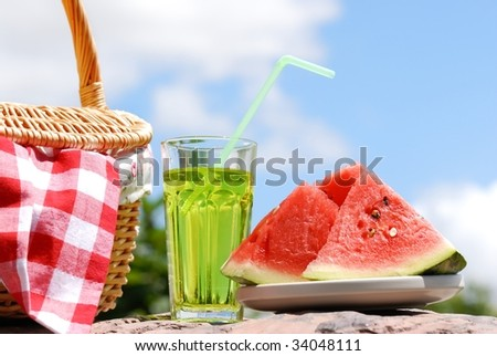 Picnic at sunny day - stock photo