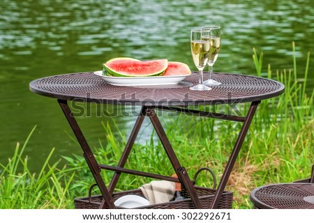Picnic at the lake in the summer