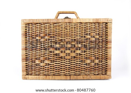 picnic bag, classic style picnic rattan weaving bag. - stock photo