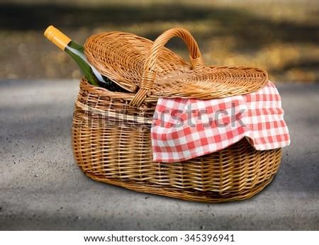Picnic Basket. - stock photo