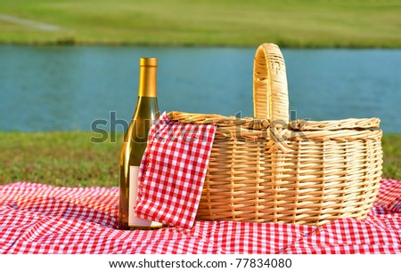 Picnic basket and bottle of white wine on red gingham blanket beside lake.