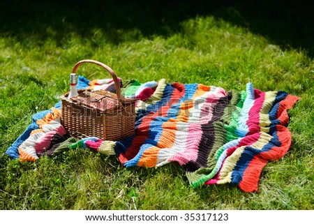 Picnic basket and colorful blanket on green grass at sunny day - stock photo