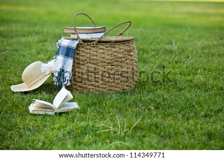 Picnic basket and straw hay laying on the grass. Also available in vertical format. - stock photo