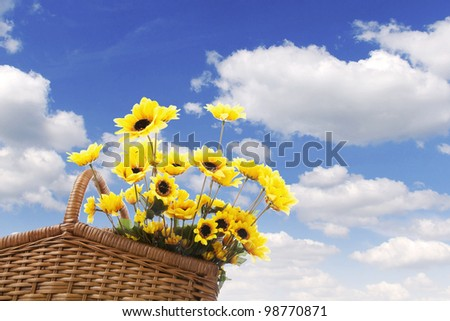 Picnic basket filled with sunflowers shot against blue summer sky - stock photo