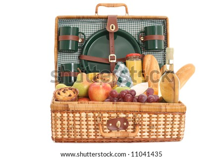 picnic basket full of fresh food - ready to go - stock photo