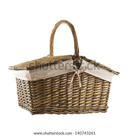 Picnic basket hamper isolated over white background - stock photo