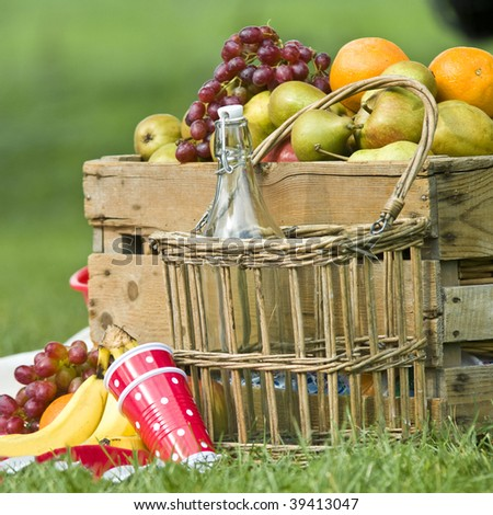 Picnic basket with different kinds of fruit