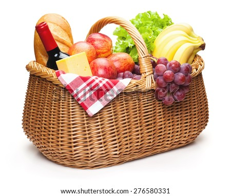 Picnic basket with food, isolated on the white background, clipping path included. - stock photo