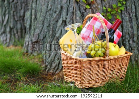 Picnic basket with food near a tree - stock photo