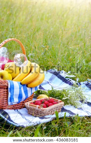 Picnic basket with fruits wine and bread on the grass with strawberry aside