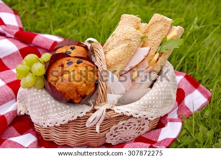 Picnic basket with sandwiches, muffins and fruits - stock photo